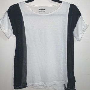 DKNY White T-Shirt w/ Sheer Black Panels - size L